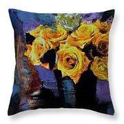 Grunge Friendship Rose Bouquet With Candle By Lisa Kaiser Throw Pillow