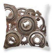 Grunge Gear Cog Wheels Mechanism Isolated On White Throw Pillow
