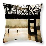 Grunge River Throw Pillow