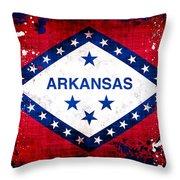 Grunge Style Arkansas Flag Throw Pillow