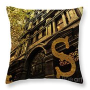 Grungy Melbourne Australia Alphabet Series Letter S Collins Stre Throw Pillow