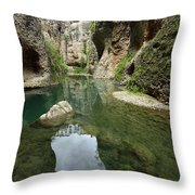 Guadalevin River At El Tajo Gorge From The Bottom Of The Secret  Throw Pillow