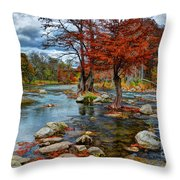 Guadalupe River In Autumn Throw Pillow