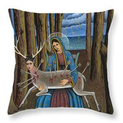 Guadalupe Visits Frida Kahlo Throw Pillow