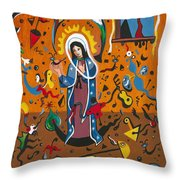 Guadalupe Visits Miro Throw Pillow