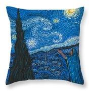 Guadalupe Visits Van Gogh Throw Pillow