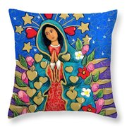 Guadalupe With Stars Throw Pillow