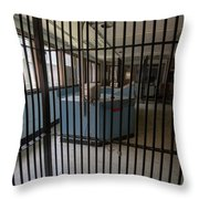 Guard Desk Inside Prison Cellblock Throw Pillow