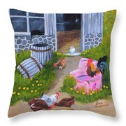 Guarding The Hen House Throw Pillow