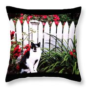 Guarding The Rose Garden Throw Pillow