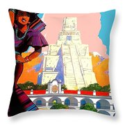 Guatemala City, Woman In Traditional Costume With Vase On Her Head Throw Pillow
