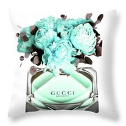 Gucci Blue Perfume Throw Pillow