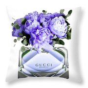 Gucci Perfume With Flower Throw Pillow