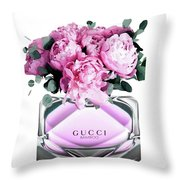 Gucci Perfume With Peony Pink Throw Pillow