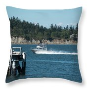 Guemes Island And Fishing Boat Throw Pillow