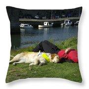 Guide Dog Relaxing Throw Pillow