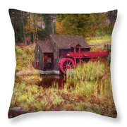 Guildhall Grist Mill In Fall Throw Pillow