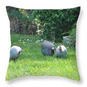 Guinea Hens Throw Pillow