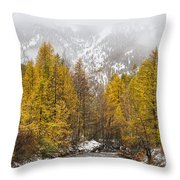 Guisane Valley In Autumn - French Alps Throw Pillow