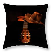 Guitar And Hat Throw Pillow
