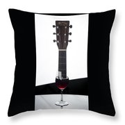 Guitar And Wine Throw Pillow