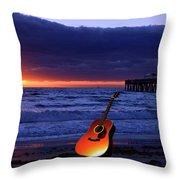 Guitar At Sunrise Throw Pillow