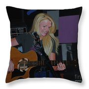 Guitar Girl Throw Pillow