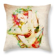 Guitar Lovers Embrace Throw Pillow