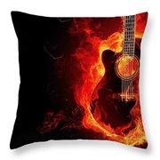 Guitar On Fire Throw Pillow