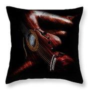Guitar Woman Throw Pillow