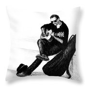 Guitarist Playing On The Street. Drawing Illustration Throw Pillow