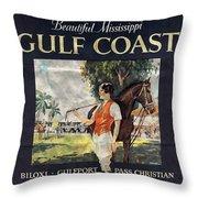 Gulf Coast - Illinois Central - Vintage Poster Folded Throw Pillow