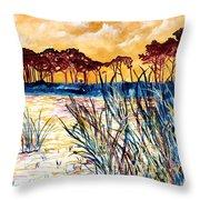 Gulf Coast Seascape Tropical Art Print Throw Pillow