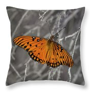 Gulf Fritillary Butterfly In The Brambles Throw Pillow