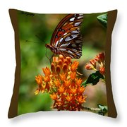 Gulf Fritillary On Butterflyweed Throw Pillow