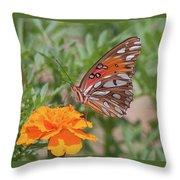 Gulf Fritillary On Marigold Throw Pillow