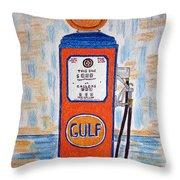 Gulf Gas Pump Throw Pillow
