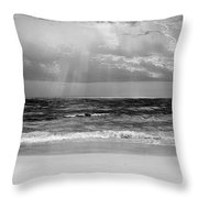 Gulf Of Mexico In Black And White Throw Pillow