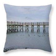 Gulf Pier Throw Pillow