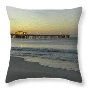 Gulf Shores Alabama Fishing Pier Digital Painting A82518 Throw Pillow by Mas Art Studio