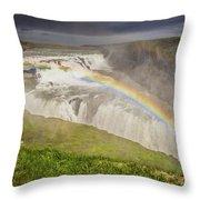 Gulfoss Waterfalls Throw Pillow