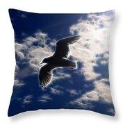 Gull Against Sky Fractal Throw Pillow