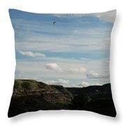 Gull Over The Badlands Throw Pillow