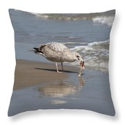 Gull With Fish  Throw Pillow