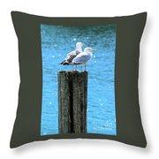 Gulls On Piling Throw Pillow