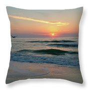 Gulls On The Gulf At Sunset Throw Pillow
