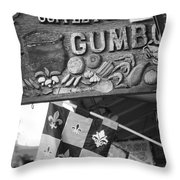 Gumbo Sign - Black And White Throw Pillow