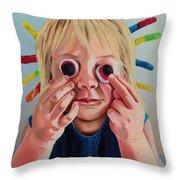 Gummy Eyes Gummy Worms Throw Pillow