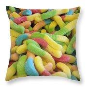 Gummy Worms Throw Pillow