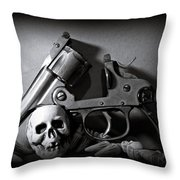 Gun And Skull Throw Pillow